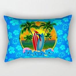 Blue Flowers Tropical Sunset Rectangular Pillow