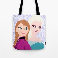 frozen Tote Bags featuring Frozen by Sammycrafts