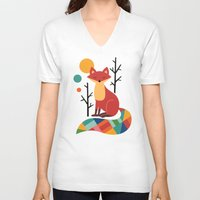 bruno mars V-neck T-shirts featuring Rainbow Fox by Andy Westface
