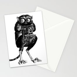 Say Cheese! | Tarsier with Vintage Camera | Black and White | Stationery Cards