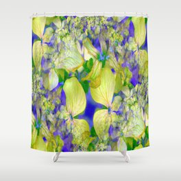 Green Violets Seamless Fractal - IA Shower Curtain