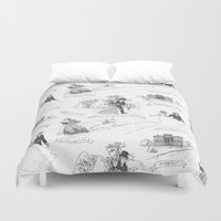 pride and prejudice Duvet Covers featuring Pride and Prejudice Toile by Aimee Steinberger