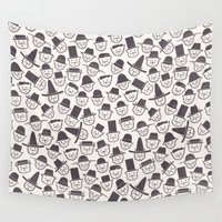 hats Wall Tapestries featuring Cats With Hats by Teo Zirinis