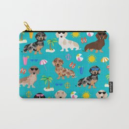 Dachshunds beach summer tropical vacation weener dogs doxie gifts Carry-All Pouch