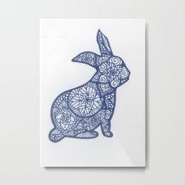 Rabbit Zentangle Metal Print