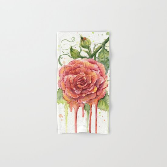 Red Rose Dripping Watercolor Flower Hand & Bath Towel