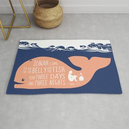 Jonah (Bible Character) Belly of the Fish Quote Rug