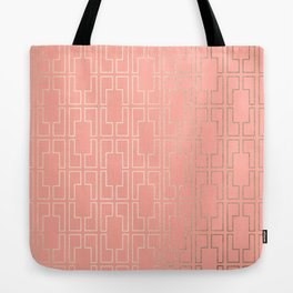 Simply Mid-Century in White Gold Sands on Salmon Pink Tote Bag