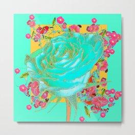 TURQUOISE ART ROSE FLOWERS  ORANGE DESIGN Metal Print