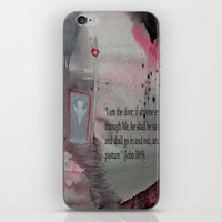 religious iPhone & iPod Skins featuring The Door----Religious Abstract Art --- John 10:9 --- by Saribelle Rodriguez by Saribelle Inspirational Art