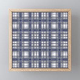 Navy Blue and Gray Plaid Framed Mini Art Print