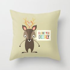 I Love You Deerly Throw Pillow