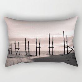 Black and pink sky at the beach Rectangular Pillow