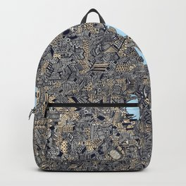 London colored map detailed drawing pen ink thames Backpack