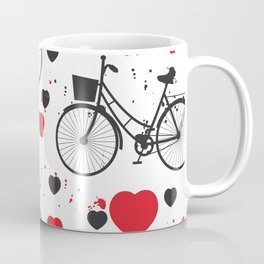 seamless pattern black bike and red heart on white background. Vector illustration Coffee Mug