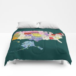 United States in Flowers Comforters