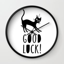 Black cat wishes good luck Wall Clock