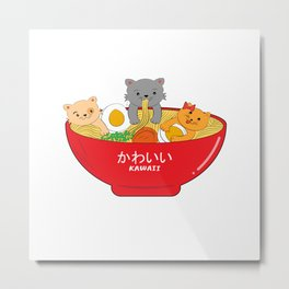 Adorable Cute Japanese Ramen Cats Kawaii Vintage Style Metal Print