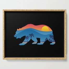 California bear with superimposed mountains and beach shoreline Serving Tray