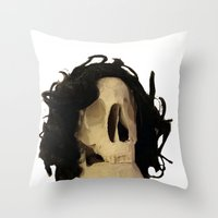 skeleton Throw Pillows featuring skeleton by Francesco Mestria