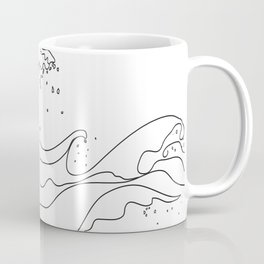 Minimal Line Art Ocean Waves Coffee Mug