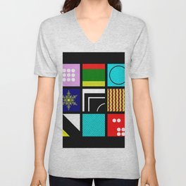 Eclectic 1 - Random collage of 9 bold colourful patterns in an abstract style Unisex V-Neck