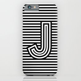 Track - Letter J - Black and White iPhone Case