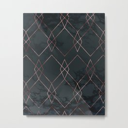 Modern Deco Rose Gold and Marble Geometric Dark Metal Print