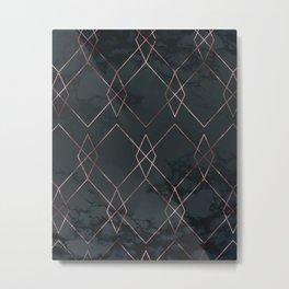 Modern Deco Rose Gold and Marble Geometric Dark Metal Print