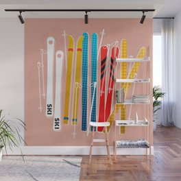 Colorful Ski Illustration and Pattern no 2 Wall Mural