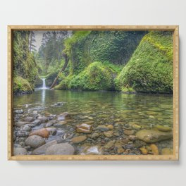 Photos USA Punchbowl Falls, Columbia River Gorge Nature Waterfalls river Stones stone Rivers Serving Tray