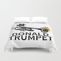 trumpet Duvet Covers featuring Donald Trump Trumpet by pollylitical