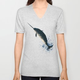 """Jackson the Narwhal"" by Amber Marine ~ Art (Copyright 2015) Unisex V-Neck"