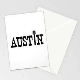 Austin Texas Graphic with Guitar Stationery Cards