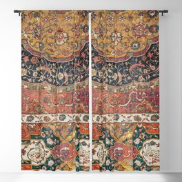 Persian Medallion Rug IX // 16th Century Distressed Red Green Blue Flowery Colorful Ornate Pattern Blackout Curtain