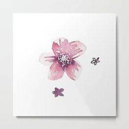 Lilac Pink Watercolour Fiordland Flower Metal Print