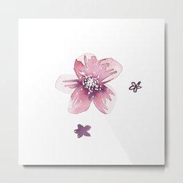 Lilac Pink Watercolour Fiordland Flower Metal Print
