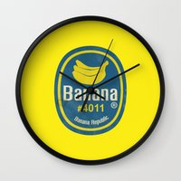 sticker Wall Clocks featuring Banana Sticker On Yellow by Karolis Butenas