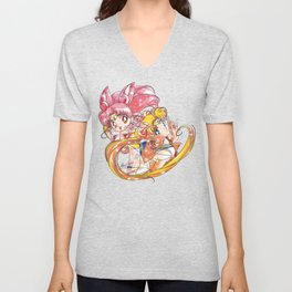 Super Sailor Moon & Chibi Moon (edit 2/A) Unisex V-Neck
