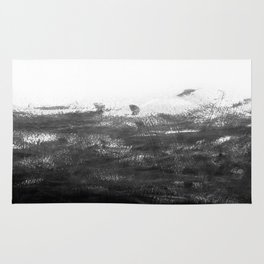 Durand - black and white minimal painting india ink brushstrokes abstract art canvas for home decor Rug