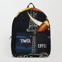 Vintage Paris La Nuit Ville Des Folies Eiffel Tower and Moon Advertising Poster Backpack