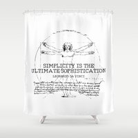 da vinci Shower Curtains featuring Leonardo Da Vinci by Uriya Ganor