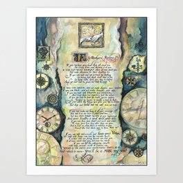 "Calligraphy of the poem ""IF"" by Rudyard Kipling Art Print"