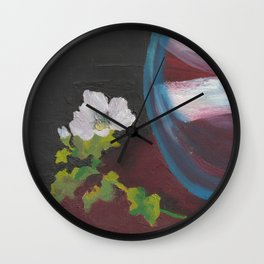 Fiore bianco con vaso d'acqua. Flowers and leaves. Fleur et feuilles. Wall Clock