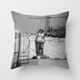 Standing in the rain - photo series Throw Pillow