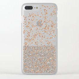 Glitter sparkle mix - rose gold & silver Clear iPhone Case