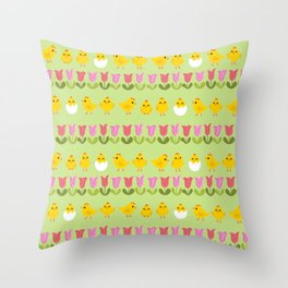 Easter - chick and tulips Throw Pillow