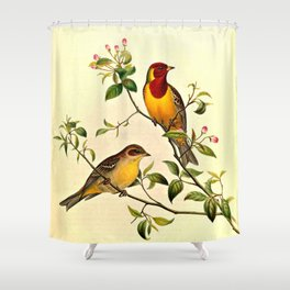 Red-Headed Bunting Shower Curtain