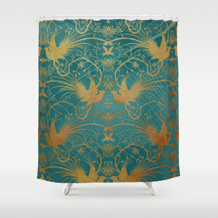 """""""Turquoise and Gold Paradise Birds"""" Shower Curtain"""