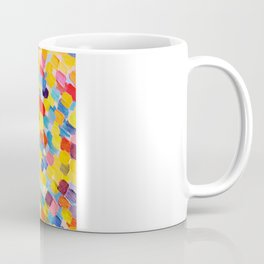 SWEPT AWAY 2 - Vibrant Colorful Rainbow Mango Yellow Waves Mermaid Splash Abstract Acrylic Painting Coffee Mug